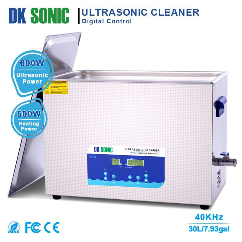 DK SONIC Lab Digital Ultrasonic Cleaner Heated 30L 40KHz 500W Ultrasound Bath for Industrial Hardware Accessories Golf Clubs Aut