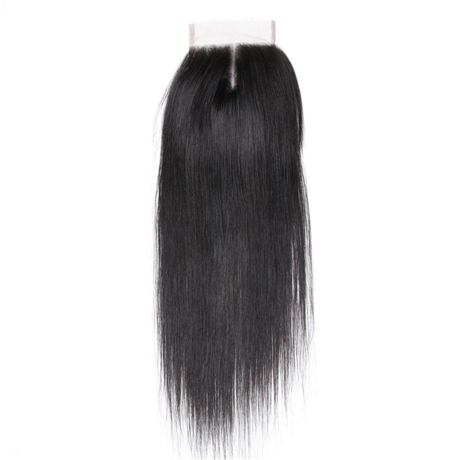2018 Bling del pelo virginal brasileño 4x4 Cordones de cierre 130% densidad recta 8-22 pulgadas parte media /parte libre/tres partes