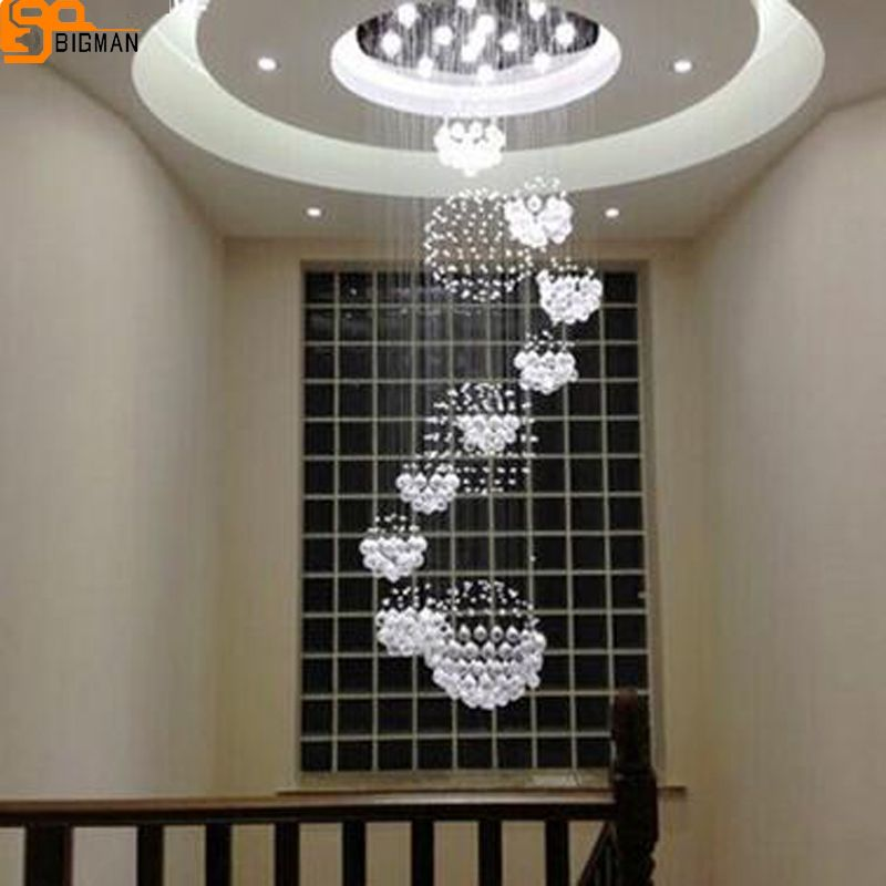 hot selling modern large crystal chandelier AC110 220V lustre staircase light Dia80*H280cm