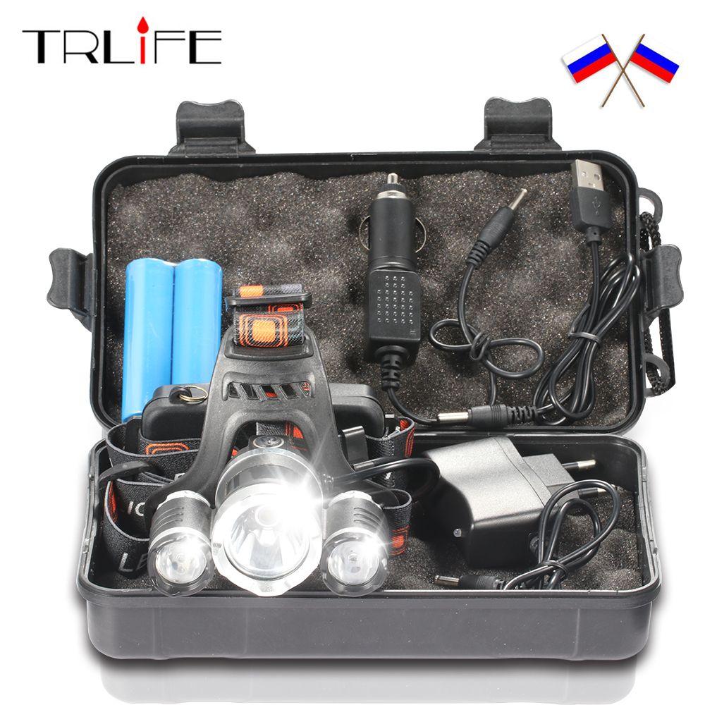 15000Lm T6 + 2R5 LED Phare de Phare Chef Lampe 4 Mode Torche + 2x18650 Batterie + UE /NOUS chargeur De Voiture pour Feux de pêche