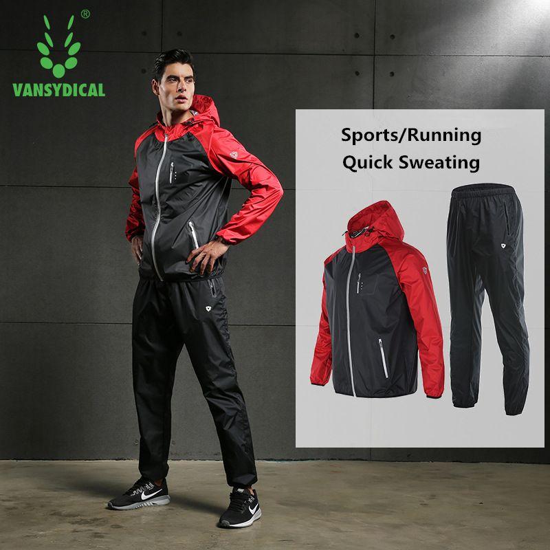 Vansydical Sport Sauna Anzüge Männer Frauen Gym Running Set Outdoor Fitness, Gewicht Zu Verlieren Jogging Anzüge Schnell Schwitzen Trainingsanzüge