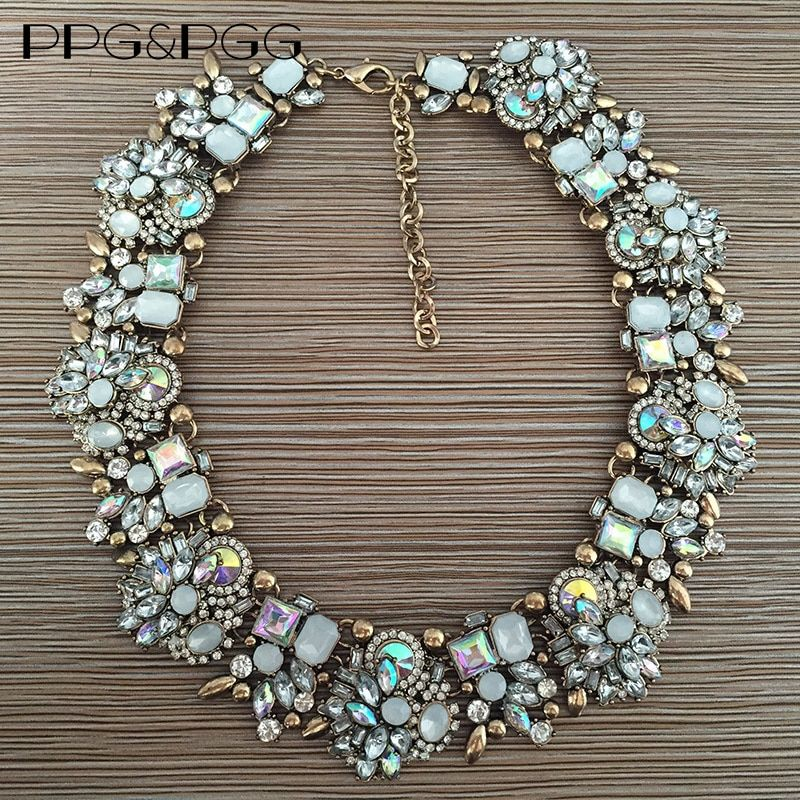 PPG&PGG Women Fashion Crystal Jewelry Charm Choker Statement Bib Collar Necklace 2017
