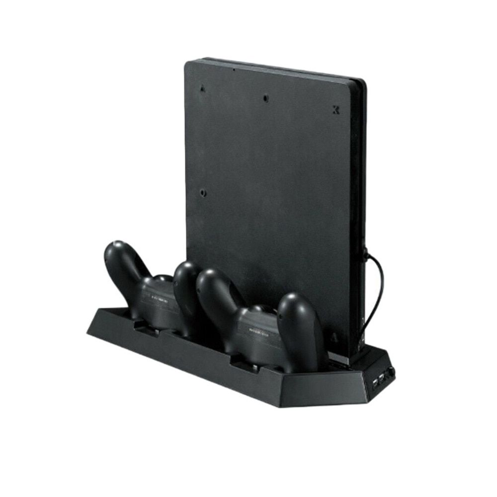 For PS4 Slim <font><b>Console</b></font> Vertical Game <font><b>Console</b></font> Stand Dock With Dual Charging Station Mutilfunction Cooling Fan Cooler Vertical Stand