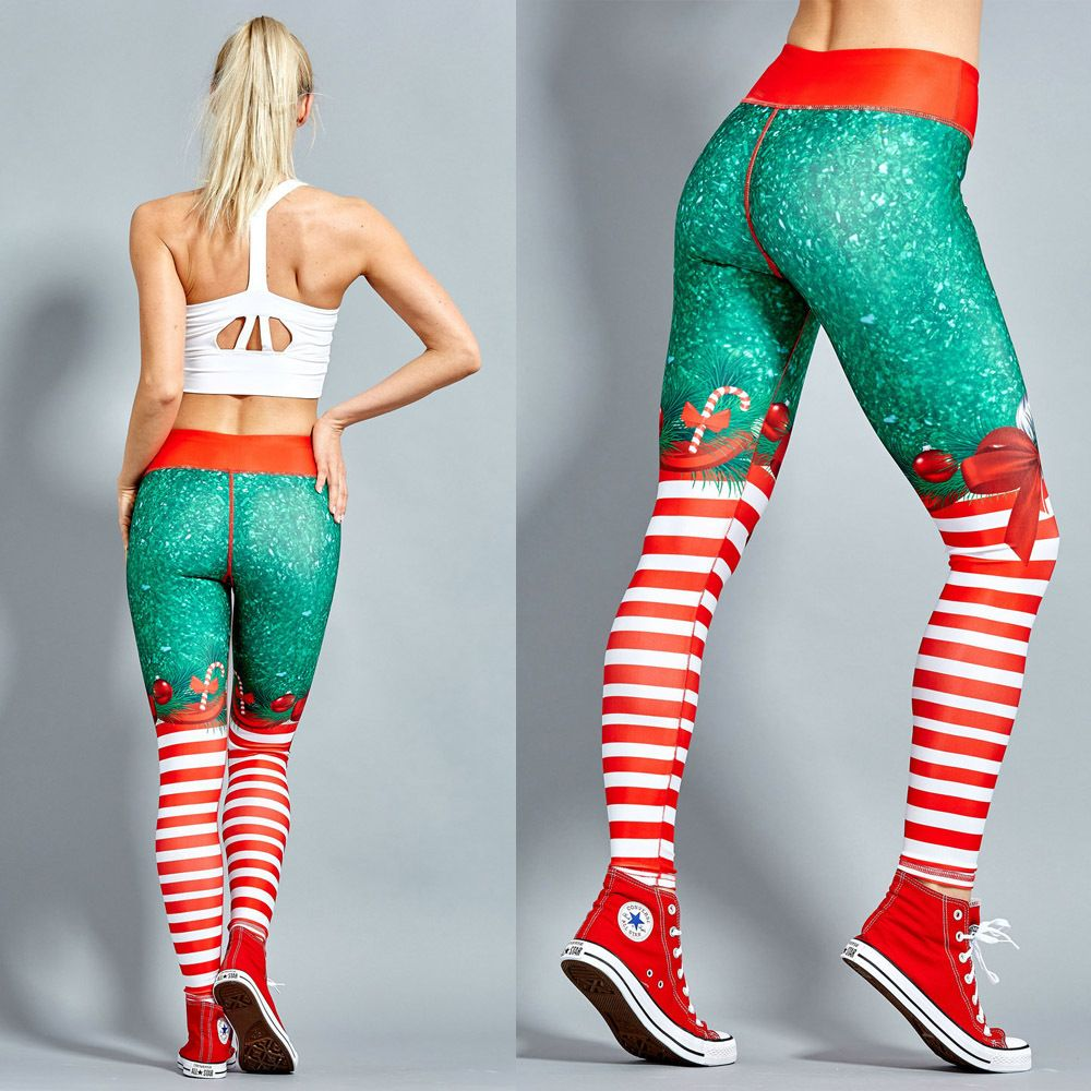 2018 Christmas Printing Leggings Put Hip Elastic High Waist Legging Breathable Merry Christmas Pants