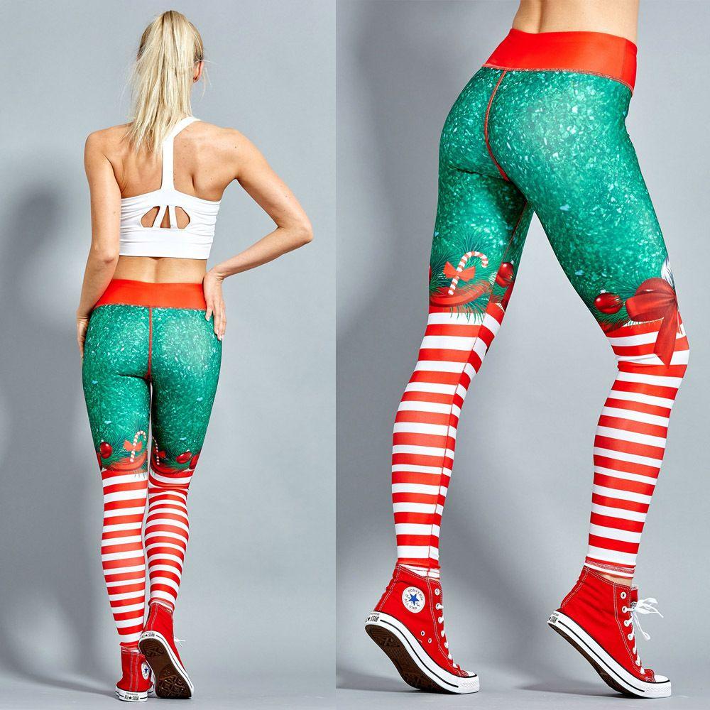 2019 De Noël Impression Leggings Mis Hanche Élastique Taille Haute Legging Respirant Joyeux Noël Pantalon