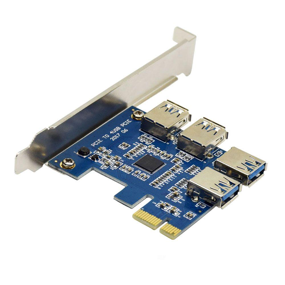 Новые 1 до 4 PCIe адаптер 1 отложным воротником 4PCI-E слот pci-e от одного до четырех USB 3.0 добыча специальный Riser Card добыча эффективность 4 раза