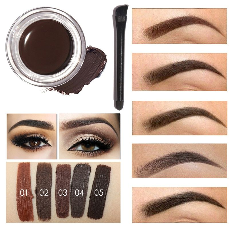 FOCALLURE professional Eye Brow Tint Makeup Tool Waterproof  Brow cream 5 Color Black Brown Henna Eyebrow Gel With Brow Brush