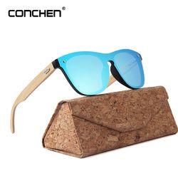 CONCHEN madera gafas de sol para las mujeres moda marca diseñador UV400 espejo lentes gafas de sol de bambú para los hombres 2018 nueva llegada