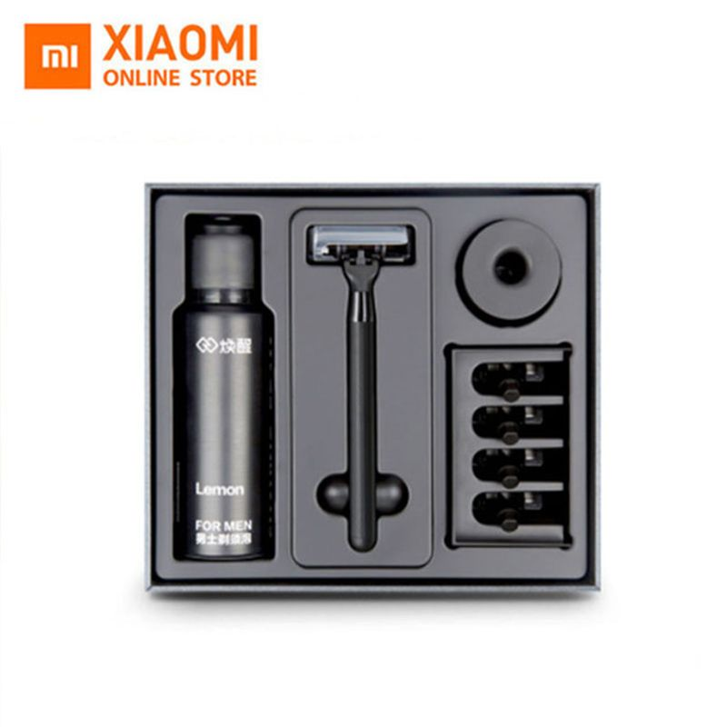 Original New Brand Xiaomi 8 in1 A Sets Men Razor Lemon Flavor 7 in 1 Sets Magnetic Replace the Clip Best Gift For Man