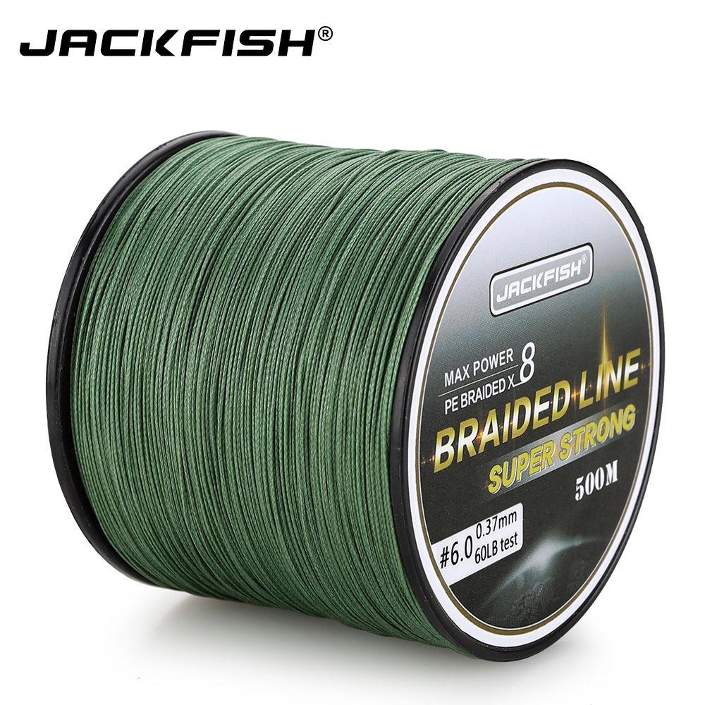 JACKFISH 500M 8 brin plus lisse PE tressé ligne de pêche 10-80LB Multifilament ligne de pêche carpe pêche en eau salée avec cadeau