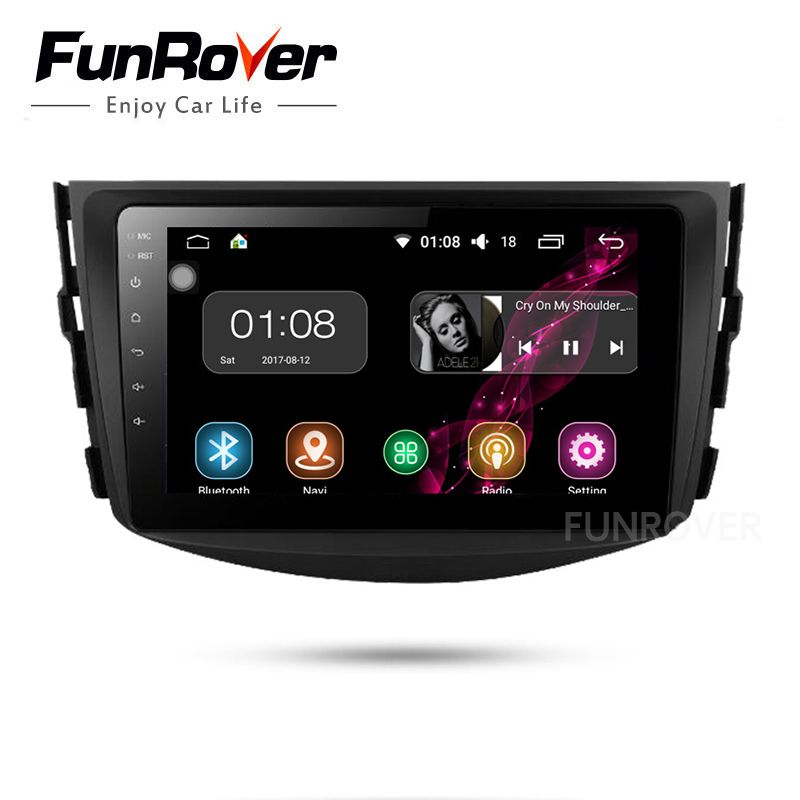 Funrover Android 8.0 Car dvd For Toyota Rav4 2007 2008 2009 2010 2011 Radio Tape Recorder Stereo Gps Navigation FM video no dvd