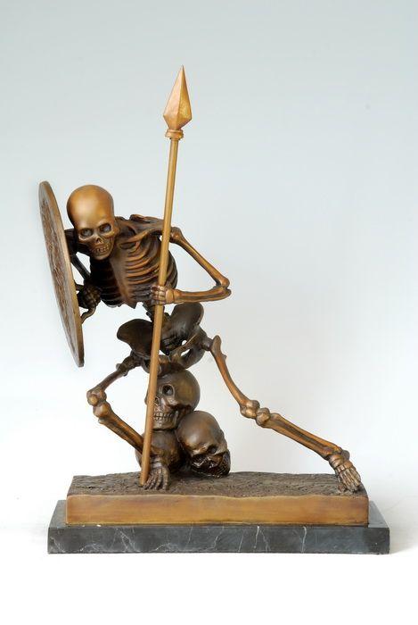 ATLIE BRONZES Modern Art Abstract Skull Bronze Statue human skeleton Ghost Saints Copper crafts Home decorations