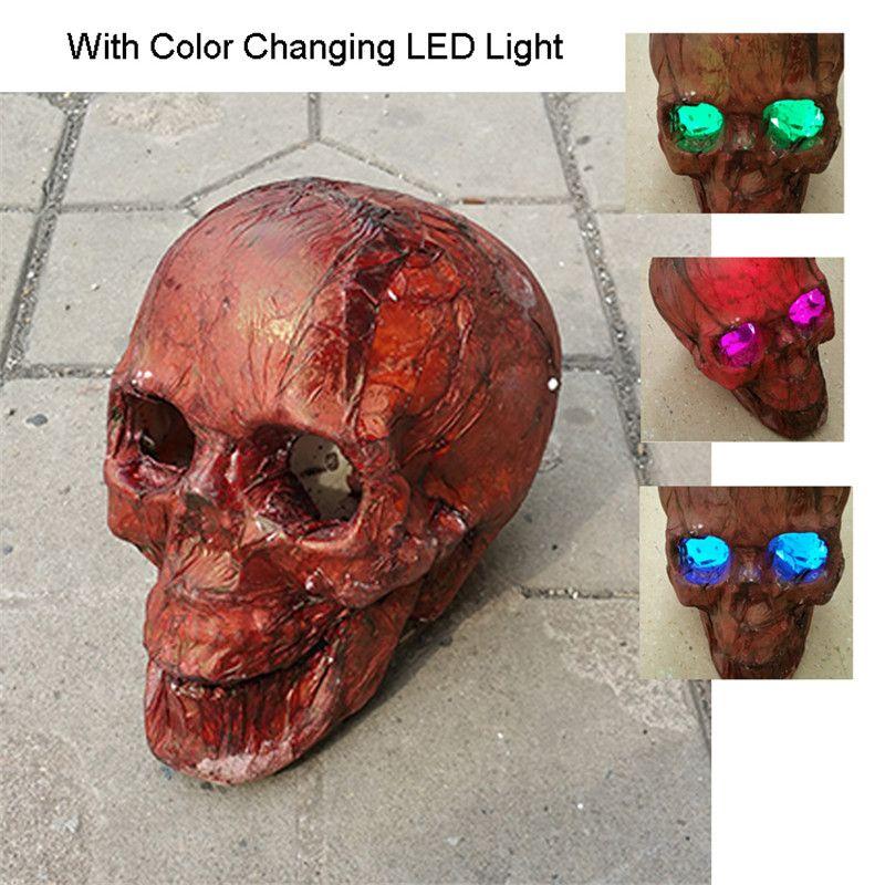 Crâne de pourriture squelette Halloween avec yeux de LED taille réelle crâne réaliste maison hantée échapper horreur accessoires décorations