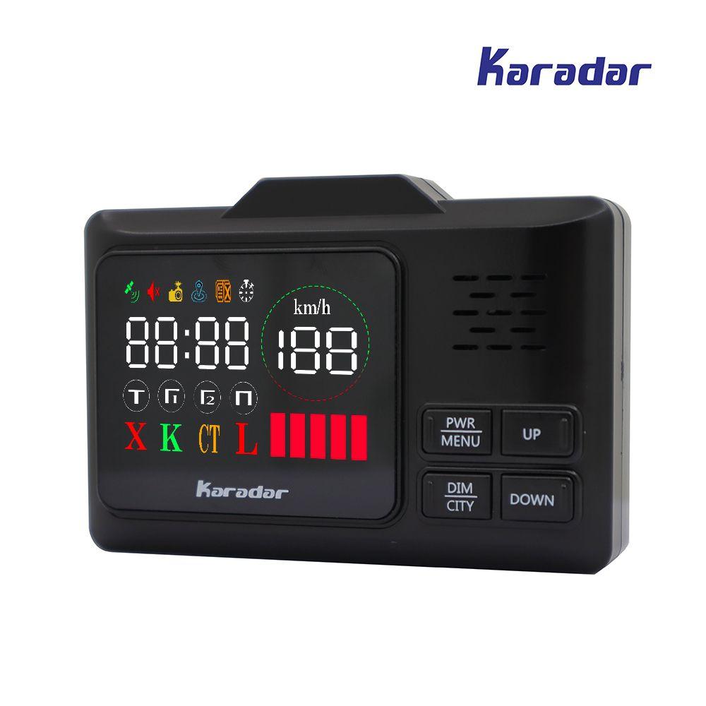KARADAR LED GPS Radar Detector G-860STR Anti Radar Car Radar Detector Laser Radar Detector Strelka Car Detector Russian <font><b>Voice</b></font>
