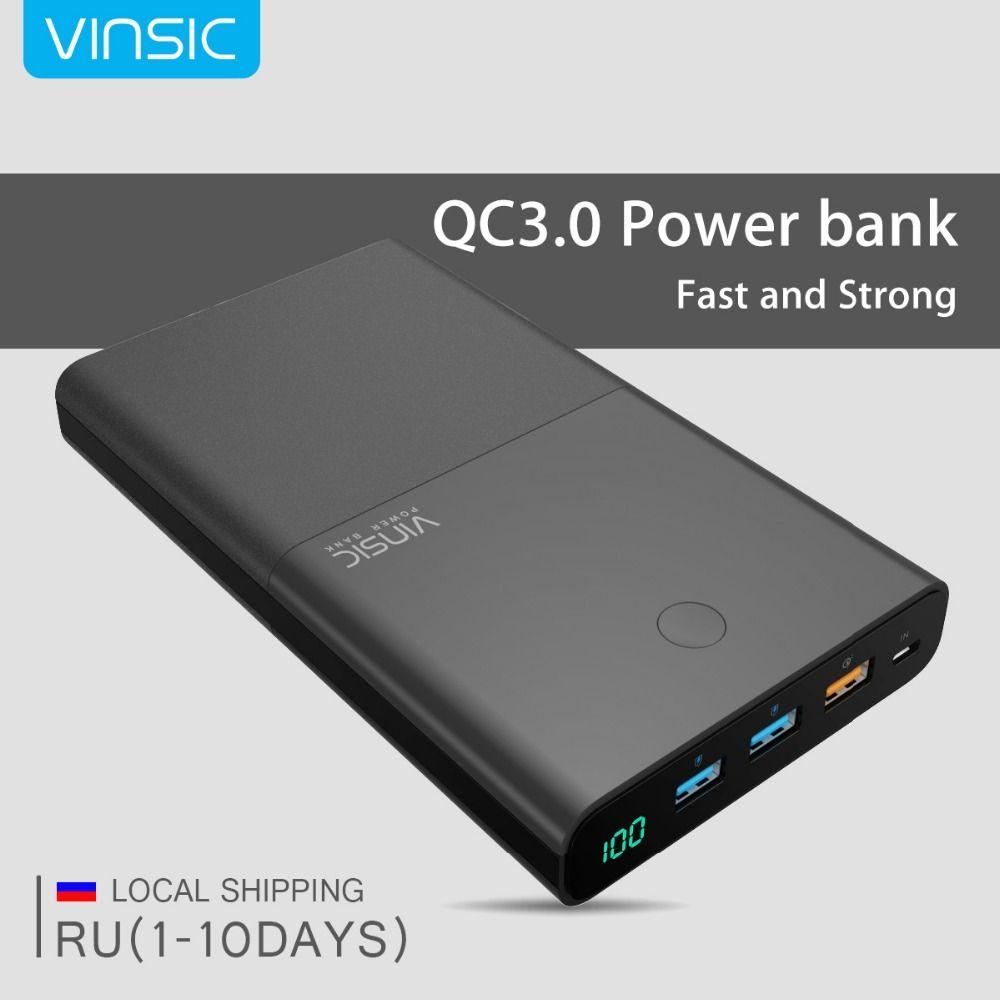 Vinsic 28000 mAh Puissance Banque 18650 QC3.0 Double USB Charge Rapide 3.0 externe Batterie Chargeur pour iPhone X 8 8 Plus 7 Xiaomi Samsung