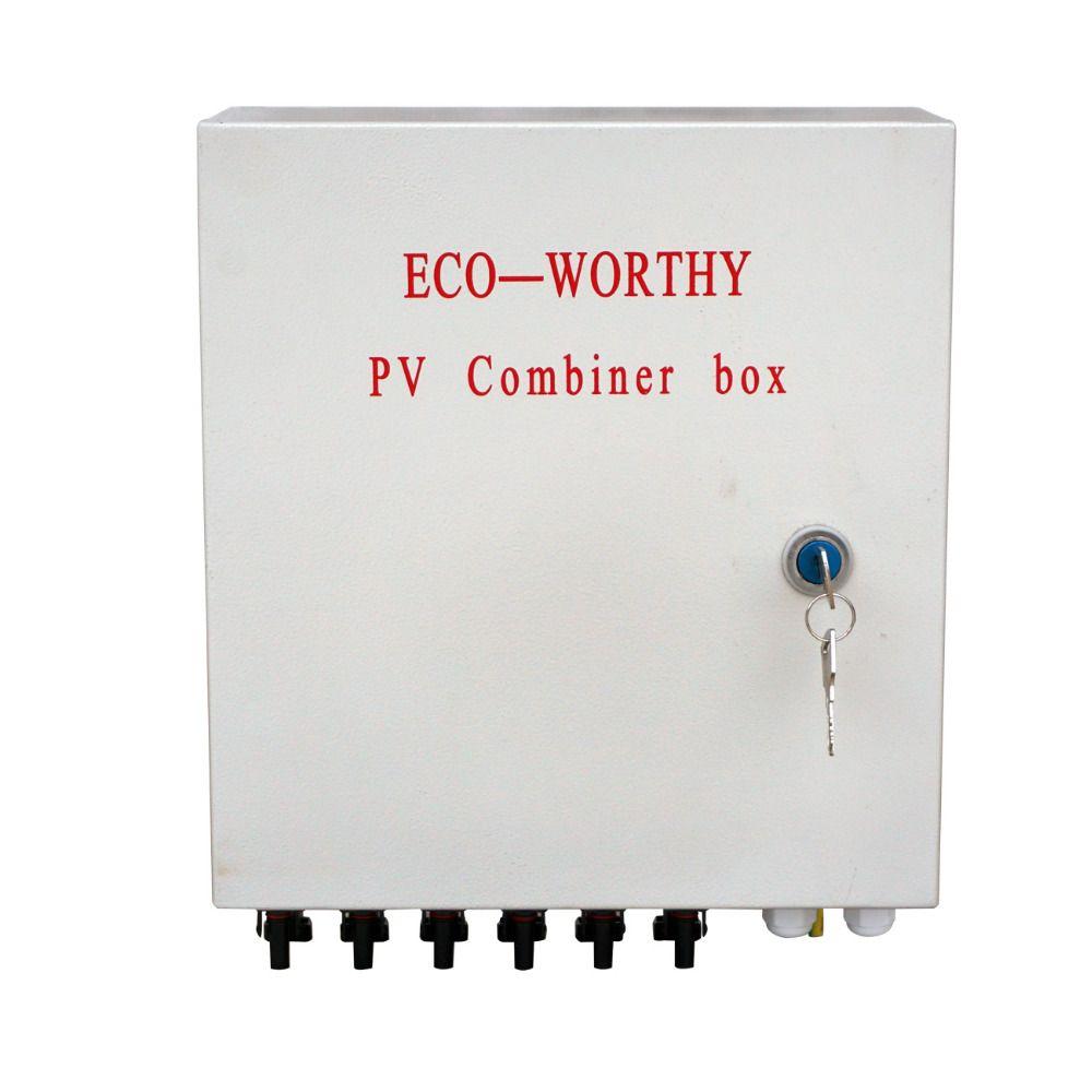 Eco-würdig 6-String Solar PV Combiner Box W Leistungsschalter Surge Blitzschutz