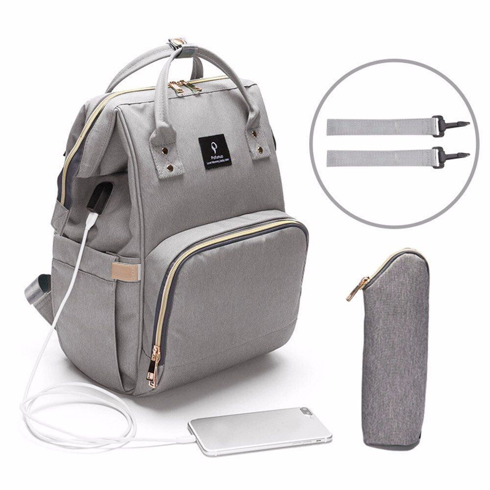 USB Baby Diaper Bags Large Nappy Bag Upgrade Fashion Waterproof Mummy Bags Maternity Travel Backpack Nursing Handbag for Mom