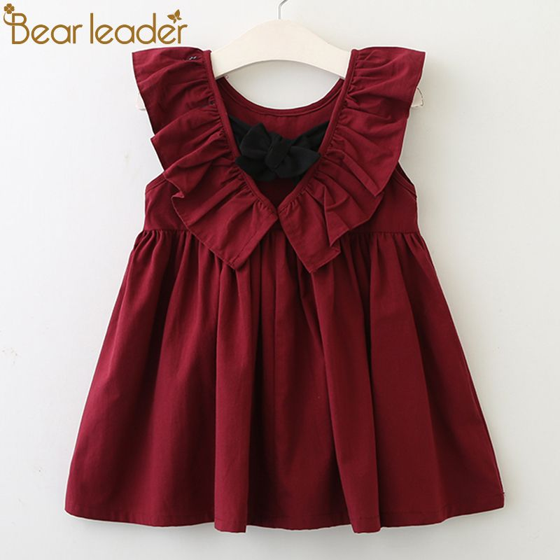 Bear Leader Girls Dresses 2018 New Brand Princess Clothing Falbala Collar Back Bowknot Solid Color Cute Dresses For 2-6 Year