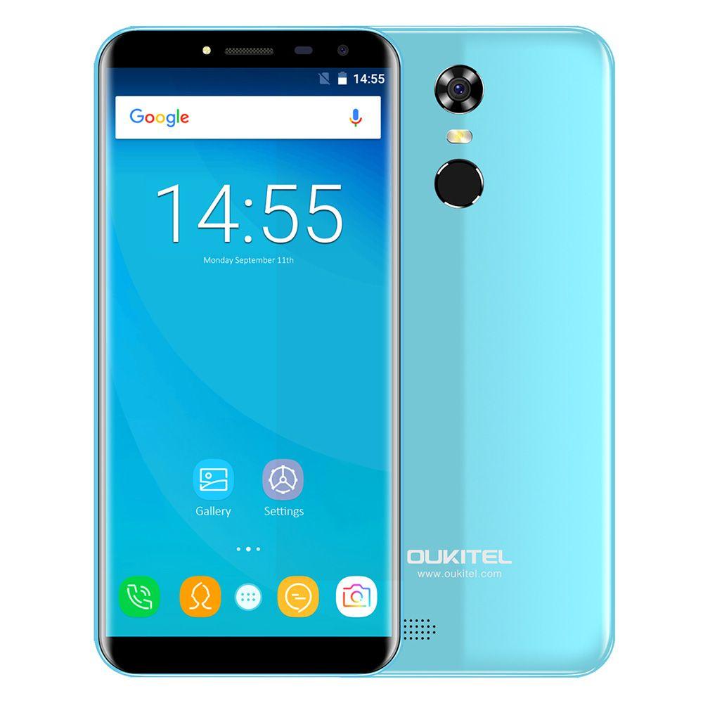 OUKITEL C8 3g Phablet Smartphone 5.5 pouce Android 7.0 MTK6580A Quad Core 1.3 ghz D'empreintes Digitales Scanner 8.0MP Arrière Caméra téléphone portable