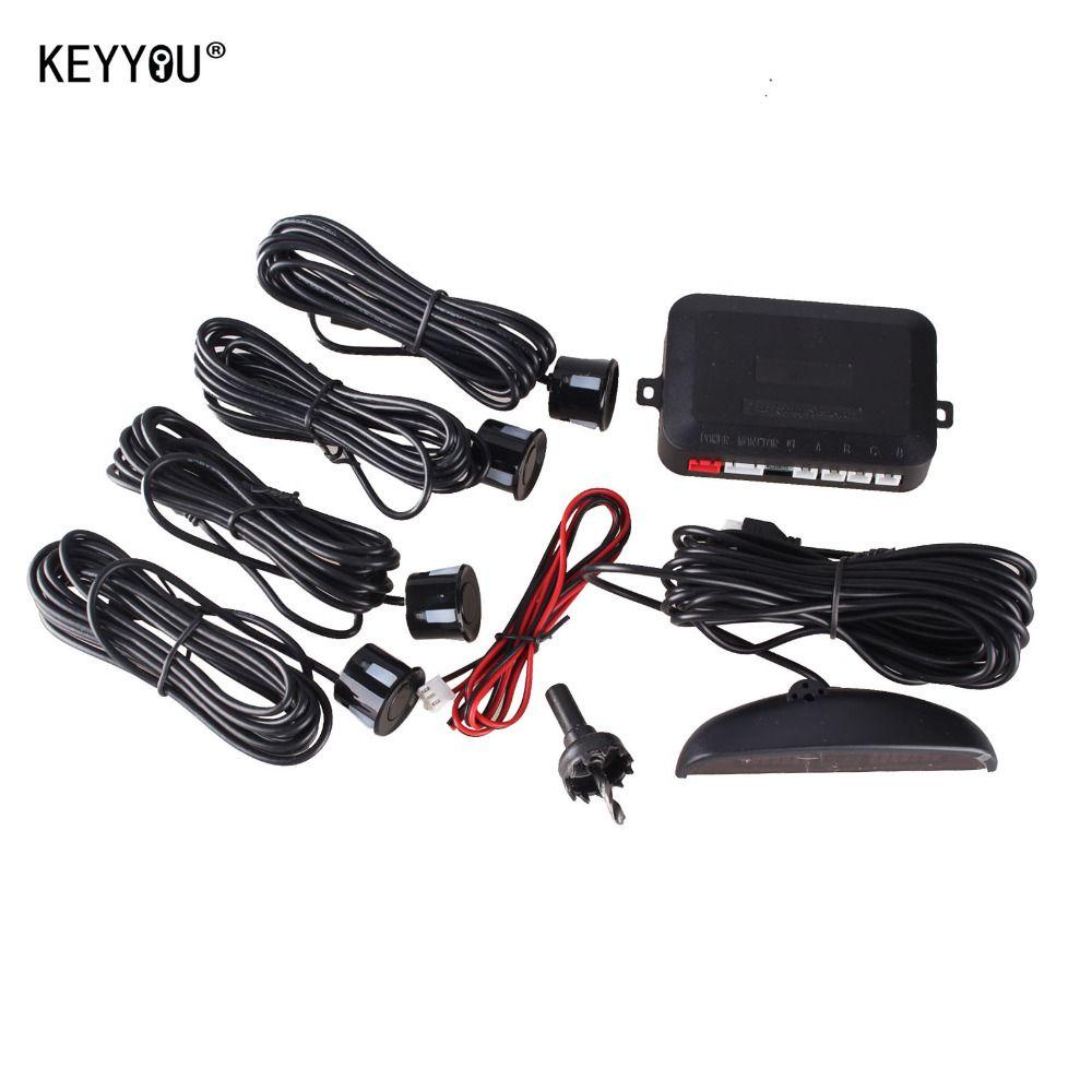KEYYOU 1Set Car LED Parking Sensor Kit Display 4 Sensors for all cars Reverse Assistance Backup Radar Monitor System