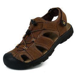 28-67 Ukuran Besar Musim Panas Sandal Pria Kulit Asli Sepatu Pria musim panas Sepatu Sandal Pria Sepatu Kasual Gelap Coklat Ligth Brown Khaki