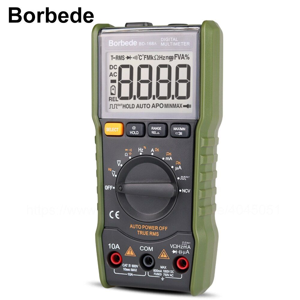 Borbede Digital Multimeter DC AC Voltage Current Capacitance Resistance Square-wave output/Temperature Tester of 6000 count Mini