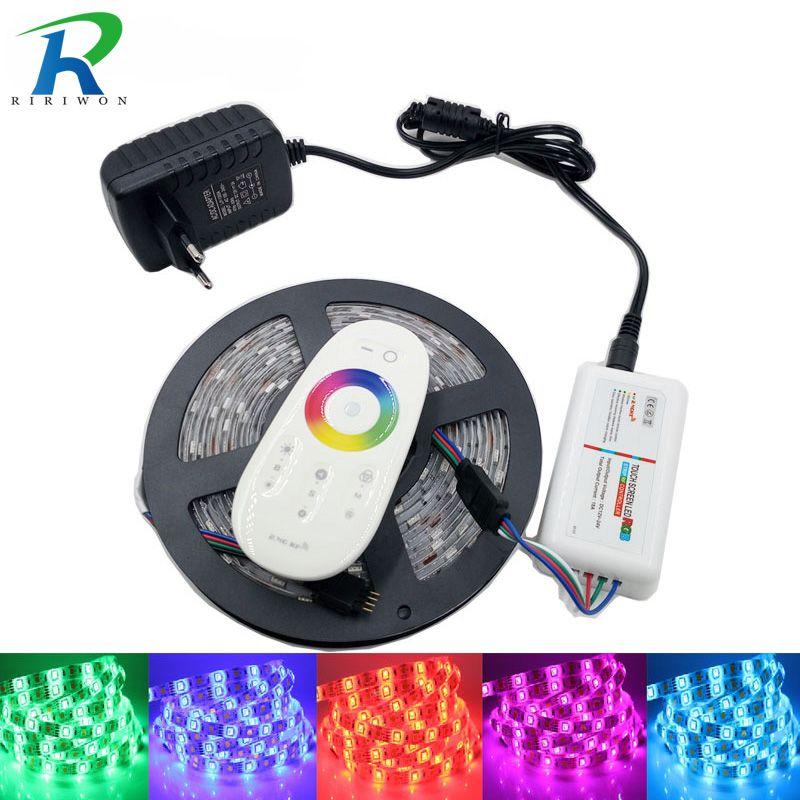 RiRi won SMD5050 RGB LED bande lumière LED waterproof DC 12 V bande Flexible bande 5 M 10 M 15 M 20 M + contrôleur tactile RGB + adaptateur