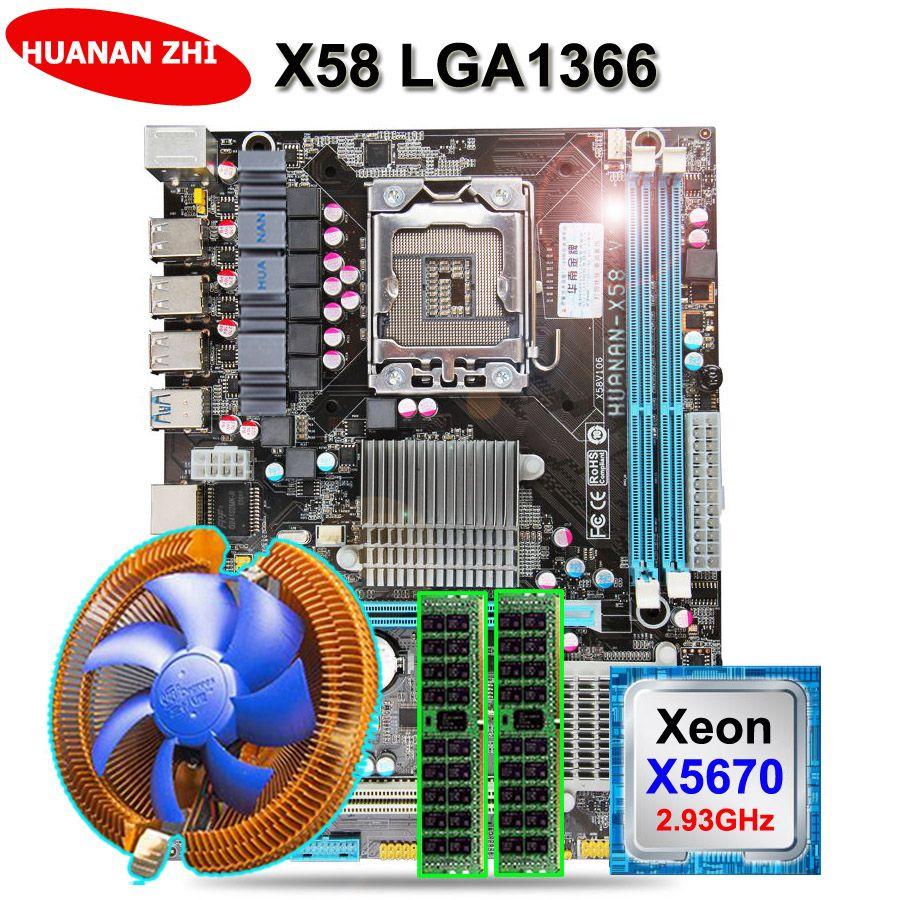 Rabatt motherboard HUANAN ZHI X58 motherboard bundle mit CPU Intel Xeon X5670 2,93 GHz mit kühler RAM (2 * 8G) 16G DDR3 REG ECC