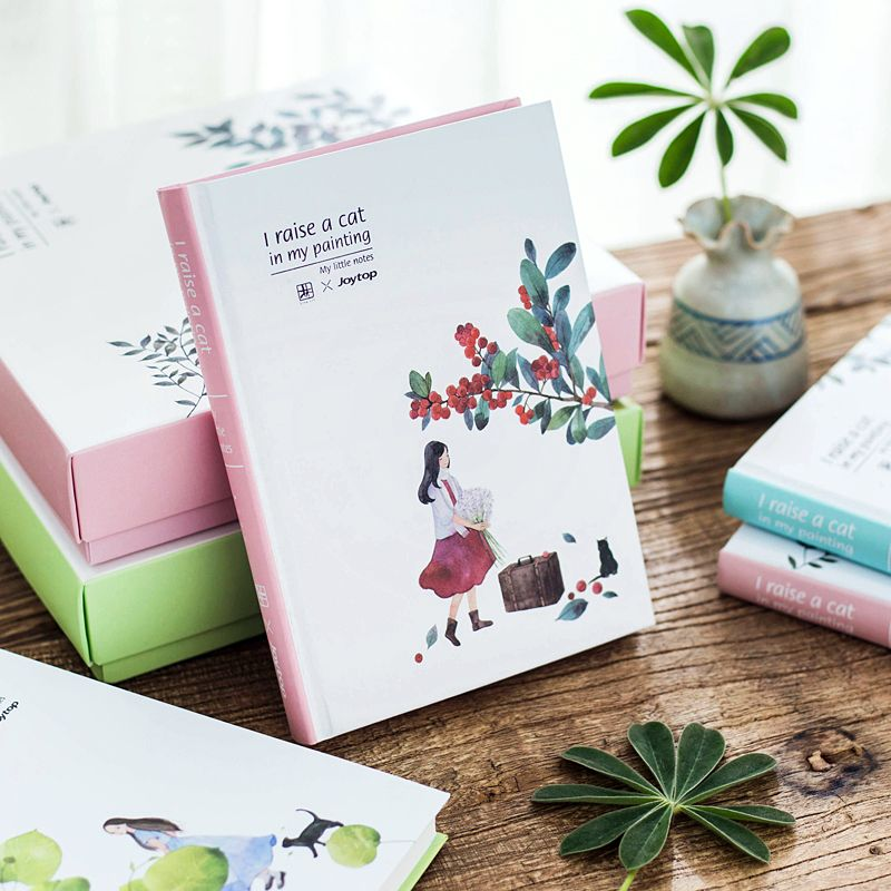 Korean Kawaii Flower Girl With Cats Creative Grid Daily Weekly Monthly Dairy Journal Day Planner Book Student Study Notebook A5