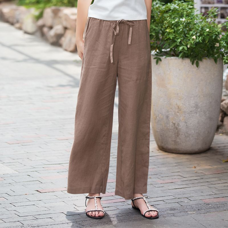 Cotton And Linen Nine Cent Pants Female Summer Thin Section Loose Waist Waist Easy To Show Thin Linen Broad Leg Trousers Big Siz
