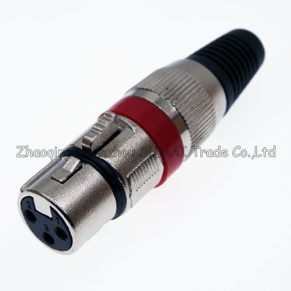 3Pin KANONE KTV Audio MIC Anschluss XLR 3 Pin weibliche J3P Xlr-mikrofon stecker, Silber mit Roten ring farbe