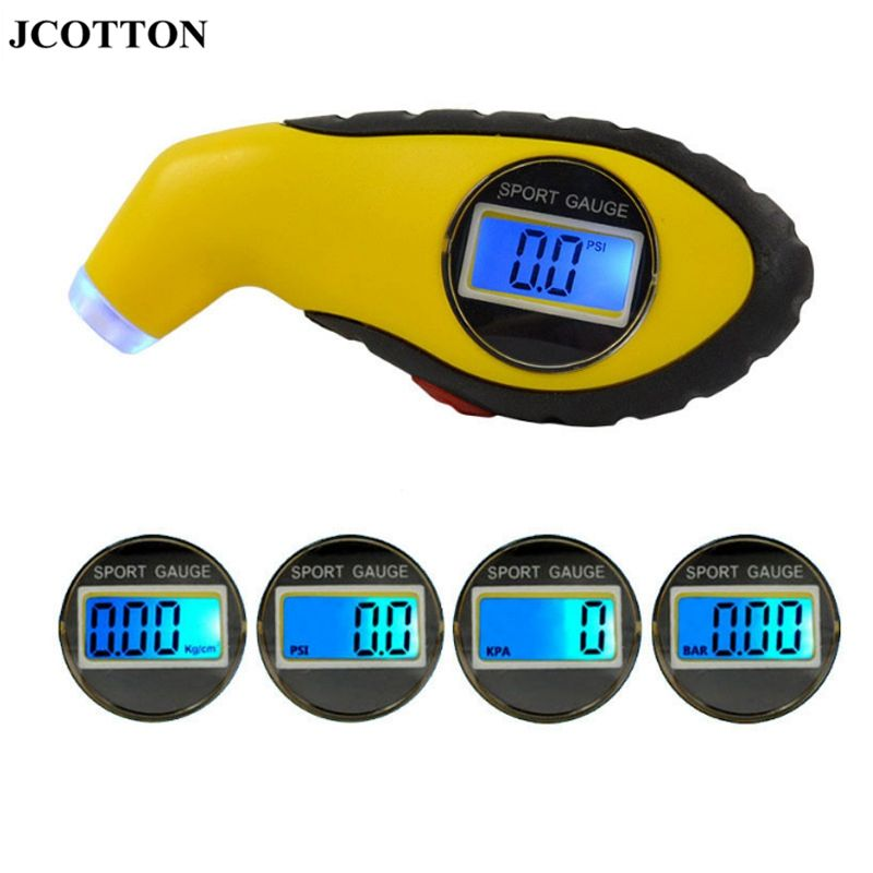 JCOTTON Digital Tire pressure monitoring LCD display Tire Pressure sensors tyre Pressure Meter Gauge with 4 settings PSI for Car
