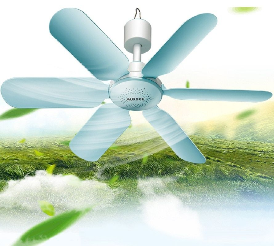 AUX Mini Household Mute Ceiling Fan 220V 7W Energy Saving Fan ABS 6 blades Sleep/Natural Wind Home Student Dorm Use Blue FC-16A1