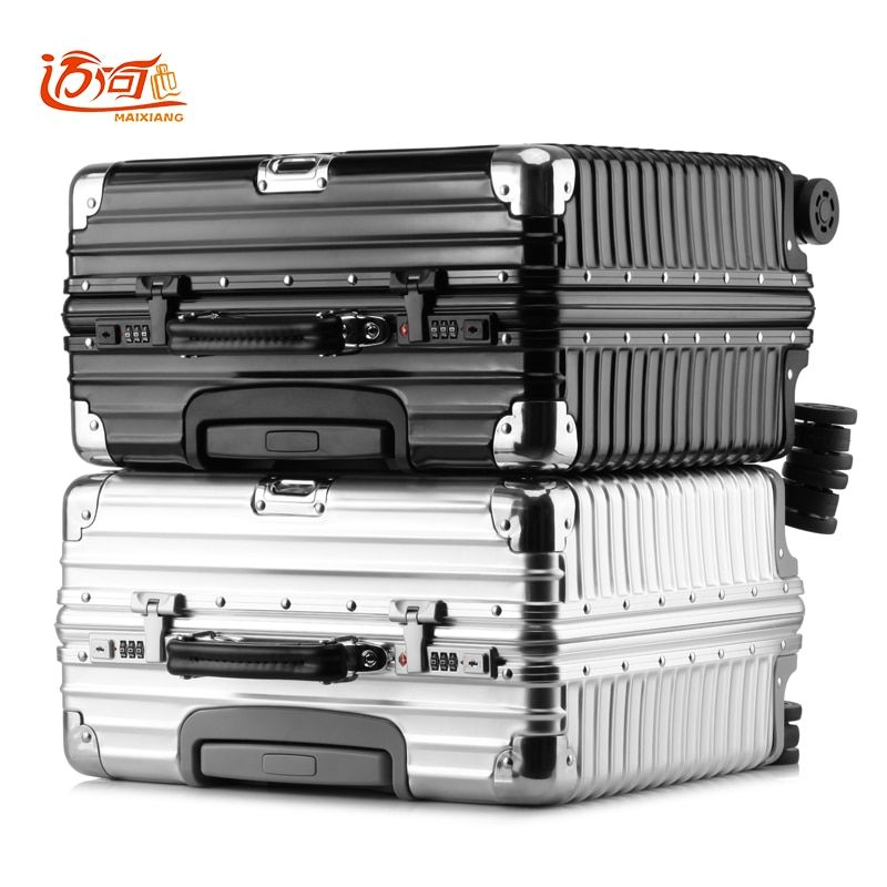 Pure metal aluminum magnesium alloy maleta cabina business vintage suitcase luggage 16inch 18 inch retro spinner travel box