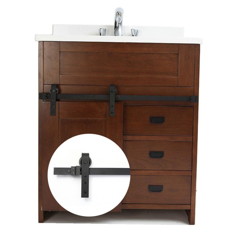 Matériel de porte coulissante de grange en acier au carbone de 3.3FT réel pour l'armoire de salle de bains