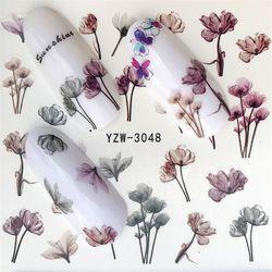 MWC 1 лист яркий Фламинго Единорог цветок водная наклейка красный фиолетовый розовый черный маникюр Дизайн ногтей перевод рисунка стикер