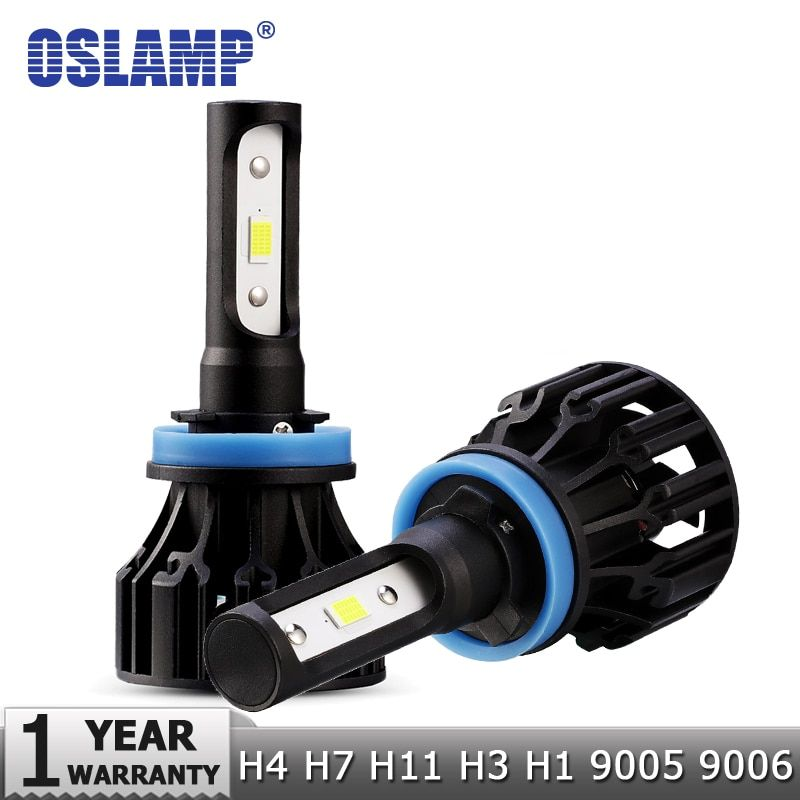 Oslamp 72W COB puces H4 H7 LED voiture phares ampoules H11 H1 H3 9005 9006 Hi-Lo faisceau 8000lm 6500K Auto lampe frontale LED lumière DC12v 24v
