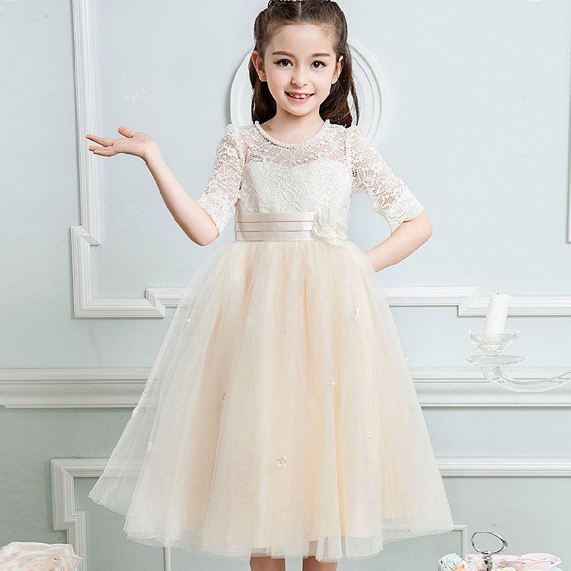 2017 Girl Bud silk long sleeve flower girl dresse kids Autumn party Night Princess wedding dress for 4-12 yrs girls clothing