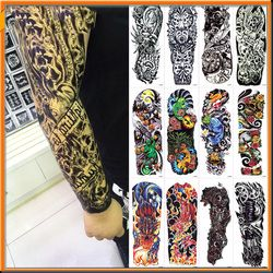 NEW 4 sheets Large Temporary Tattoos Sticker Men Arm Sleeves lelft Shoulder Fake Tattoo Body Art sticker Twinset 3d Fake Totem
