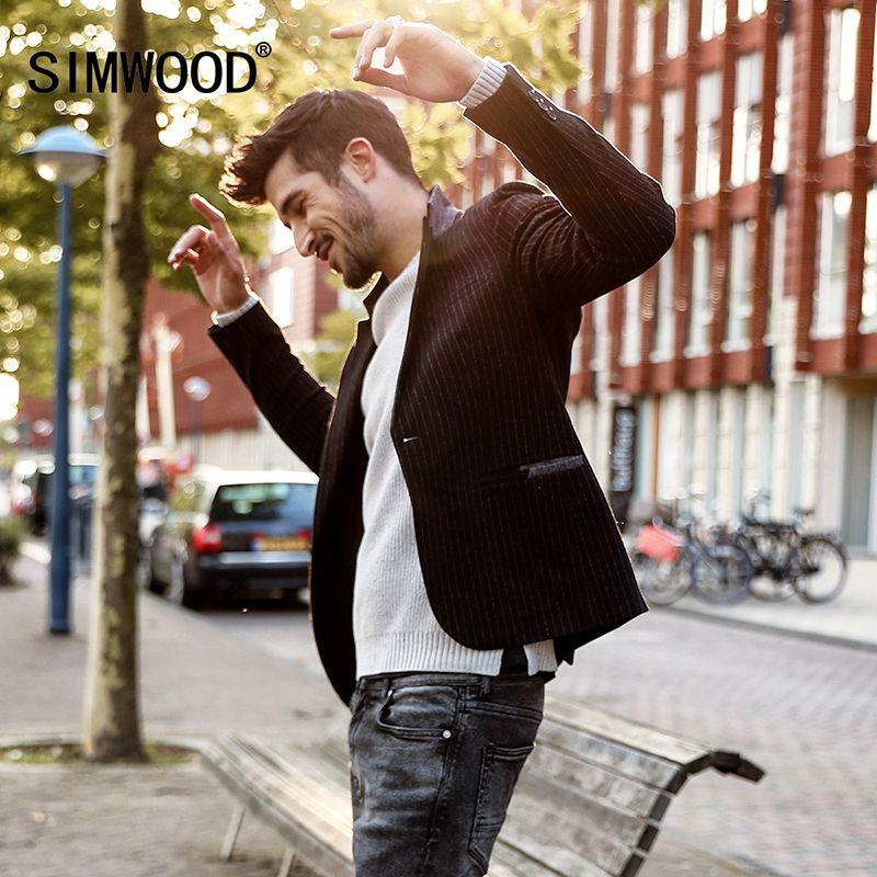 SIMWOOD Blazer Männer Slim Fit Jacken Männer Mode 2017 Herbst Winter Smart Casual Anzüge Gestreifte Mäntel Männliche Hochwertigen XZ017001