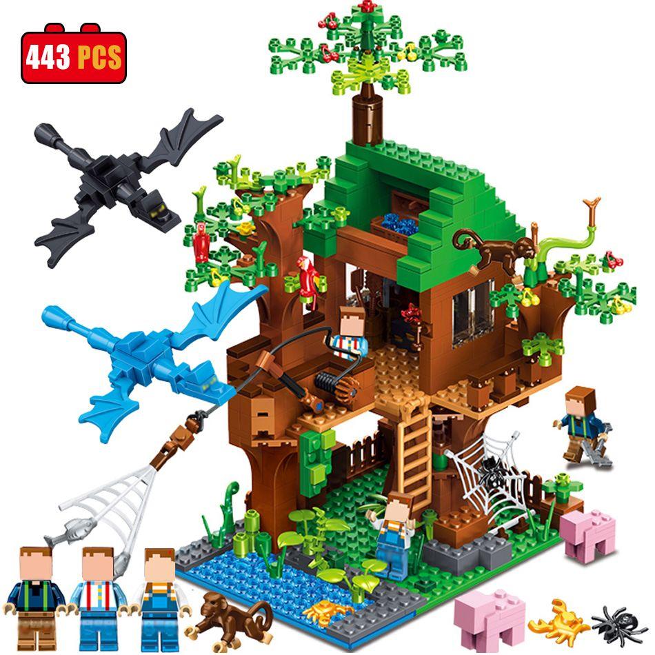 Qunlong Minecrafted Clásico Árbol de Casa de Mi mundo Compatible Legoed Figuras Building Blocks Ladrillos Juguetes Para Niños Navidad