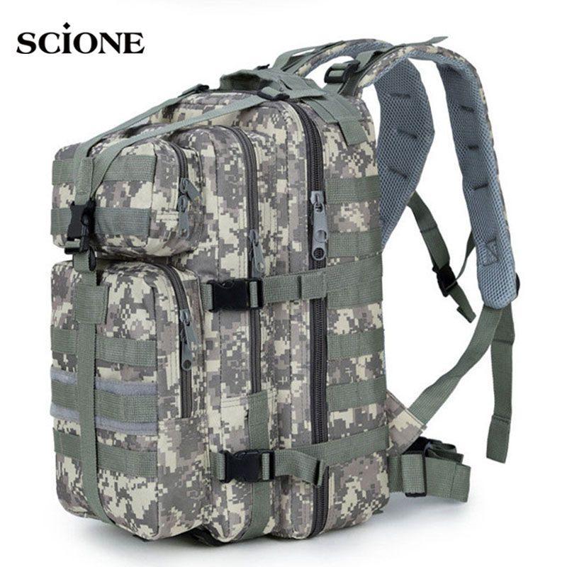 35L Men Women Military Army Backpack Trekking Camouflage Rucksack Molle Tactical Bag Pack Schoolbag Waterproof ACU Black XA161WA