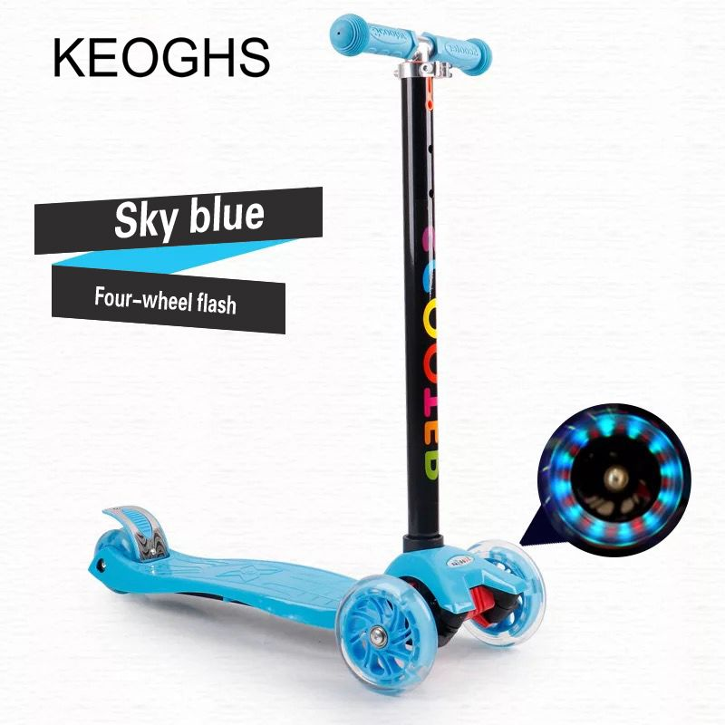 Children's kick scooter baby kid PU 4wheels Fashing outdoor toy 2-12years old Bodybuilding disassembly plastic height adjustable