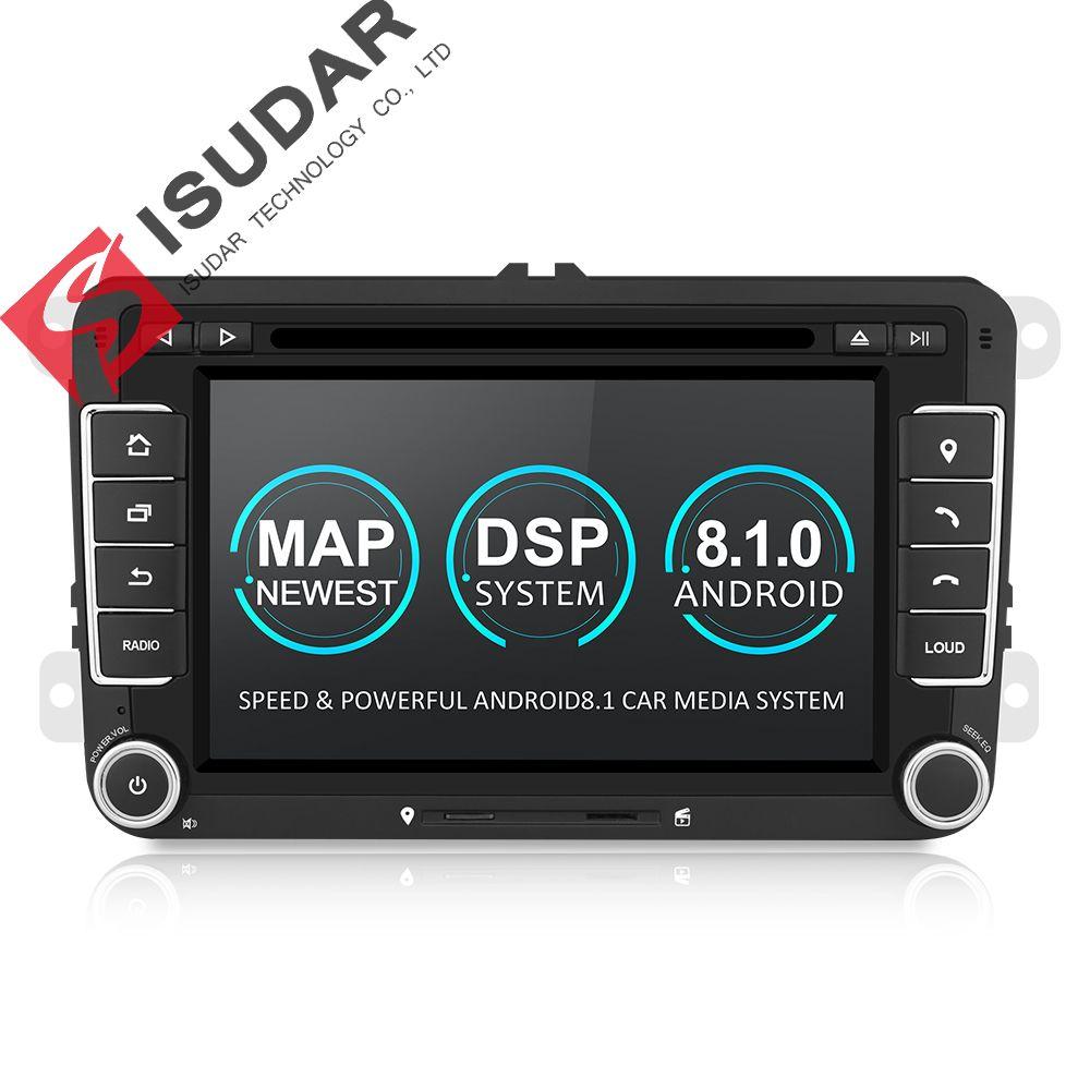 Isudar Voiture lecteur multimédia Android 8.1 GPS 2 Din Pour VW/Golf/Tiguan/Skoda/Fabia/Rapide /siège/Leon/Skoda canbus dvd automotivo fm