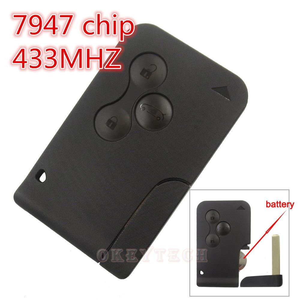 Best Price Excellent Quality 3 Button with Insert Small key blade  Smart Card for Renault Megane Scenic With 7947 Chip 433MHZ
