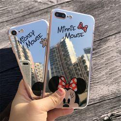 Lindo original de la historieta Minnie espejo silicona Carcasas para iPhone x 6 6 s caso TPU Mickey Mouse para el iPhone 7 8 5 5S caso