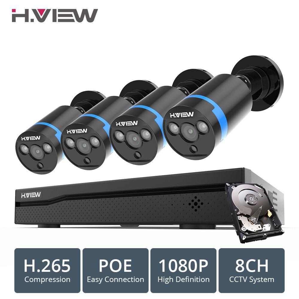 H. ANSICHT 8ch 1080 p CCTV Kamera System PoE H.265 4 PCS CCTV Kamera System 2mp Video Überwachung Kit PoE 48 V Video Überwachung Kit