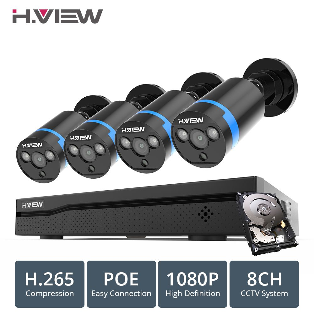 H. ANSICHT 8ch 1080p CCTV Kamera System PoE H.265 4PCS CCTV Kamera System 2mp Video Überwachung Kit PoE 48V Video Überwachung Kit