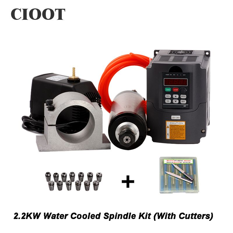 2.2KW Spindle CNC Router Spindle Motor  ER20 Milling Spindle Kit & 2.2kw  Inverter / Vfd 80mm Clamp Water Pump 13pcs ER20