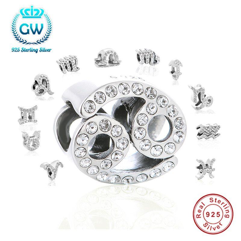 Authentique 925 Sterling Silver Charm Verseau Étoiles Signe Du Zodiaque 12 Constellations Perles fit Charm Bracelet Cadeau le Jour De Noël